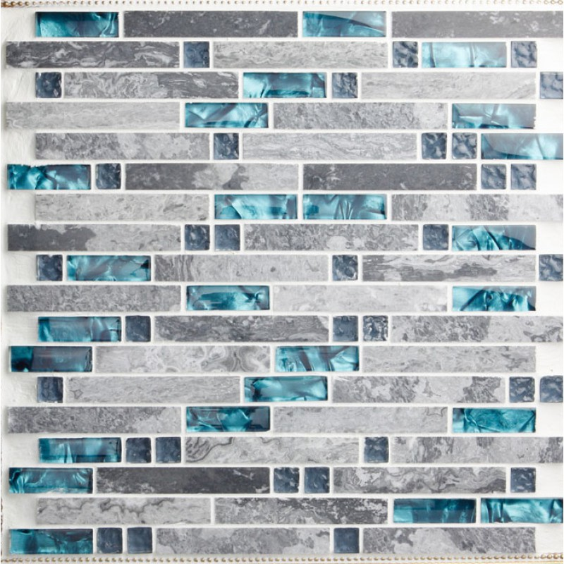 bule Glass and grey stone blend mosaic wall tile backsplash blue wave  marble tile striped art - Glass And Stone Blend Mosaic Wall Tile Backsplash Blue Wave Marble