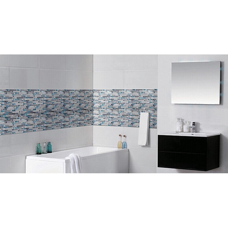 glass and stone blend mosaic wall tile backsplash blue