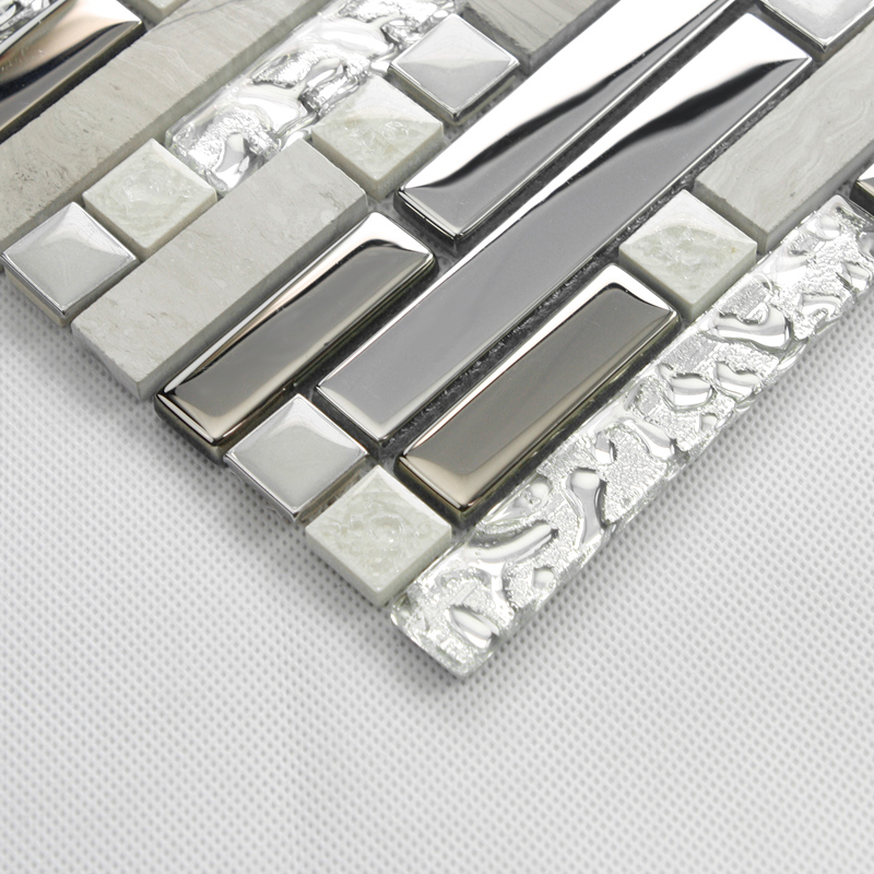 Crystal Tiles Stone Backsplash Silver Plating Glass And Stainless Steel Blend Metal Mosaic Wall Decor Strip