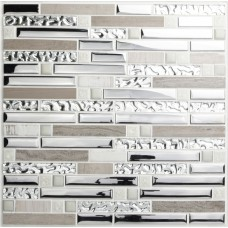 Crystal tiles stone backsplash silver plating glass and stainless steel blend metal mosaic wall decor strip marble tile MSG9831