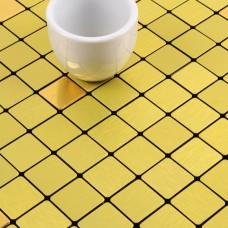 gold alucobond tile ACP brushed aluminum mosaic sheets metal tile backsplash cheap AA08 bathroom tiles wall decor kitchen backsplashes
