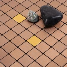 cinnamon alucobond tile ACP brushed aluminum mosaic sheets metal tile backsplash cheap AA10 bathroom tiles wall decor kitchen backsplashes