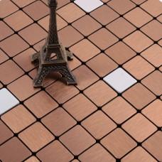 cinnamon alucobond tile ACP brushed aluminum mosaic sheets metal tile backsplash cheap AA11 bathroom tiles wall decor kitchen backsplashes