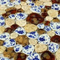 Pebble tiles porcelain mosaic tiles glazed ceramic tile bathroom wall designs kitchen backsplash cheap shower mosaics PPT30