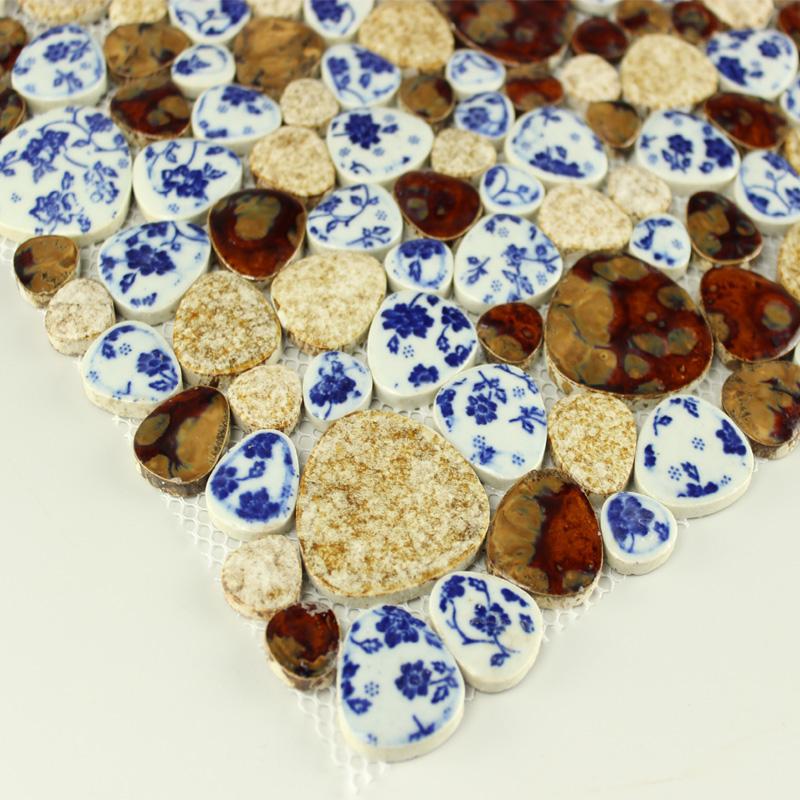 Pebble Tiles Porcelain Mosaic Tiles Glazed Ceramic Tile Bathroom