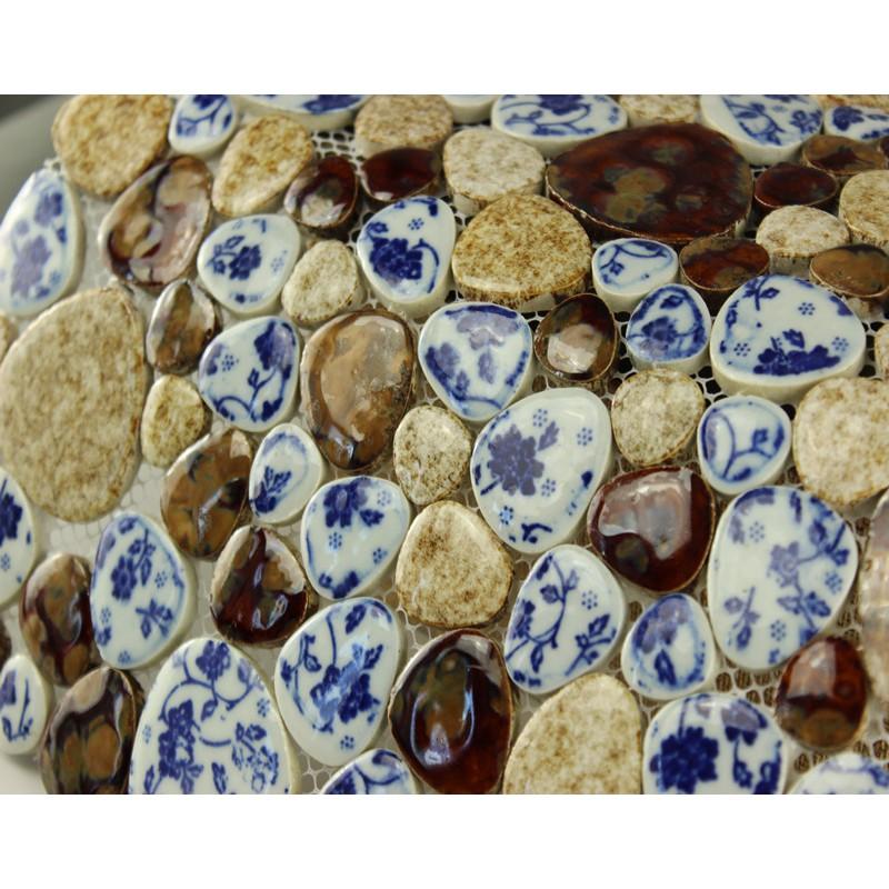 Pebble tiles porcelain mosaic tiles glazed ceramic tile bathroom ...