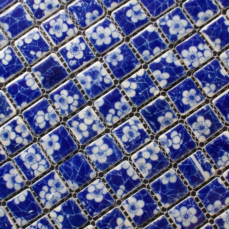 Glazed porcelain tile kitchen backsplash blue and white for Ceramic tile kitchen wall designs