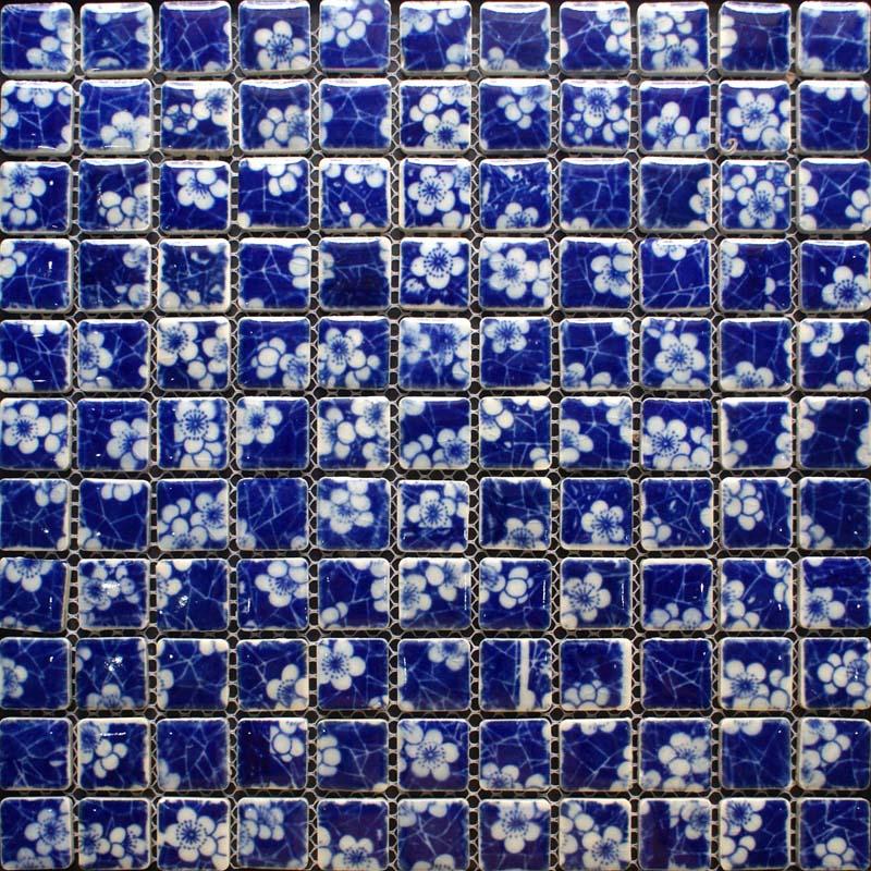 glazed porcelain tile kitchen backsplash blue and white