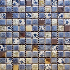 Porcelain tile backsplash kitchen for walls blue and white glazed shower wall tiles design cheap mosaic bathroom floor tiles GPT112