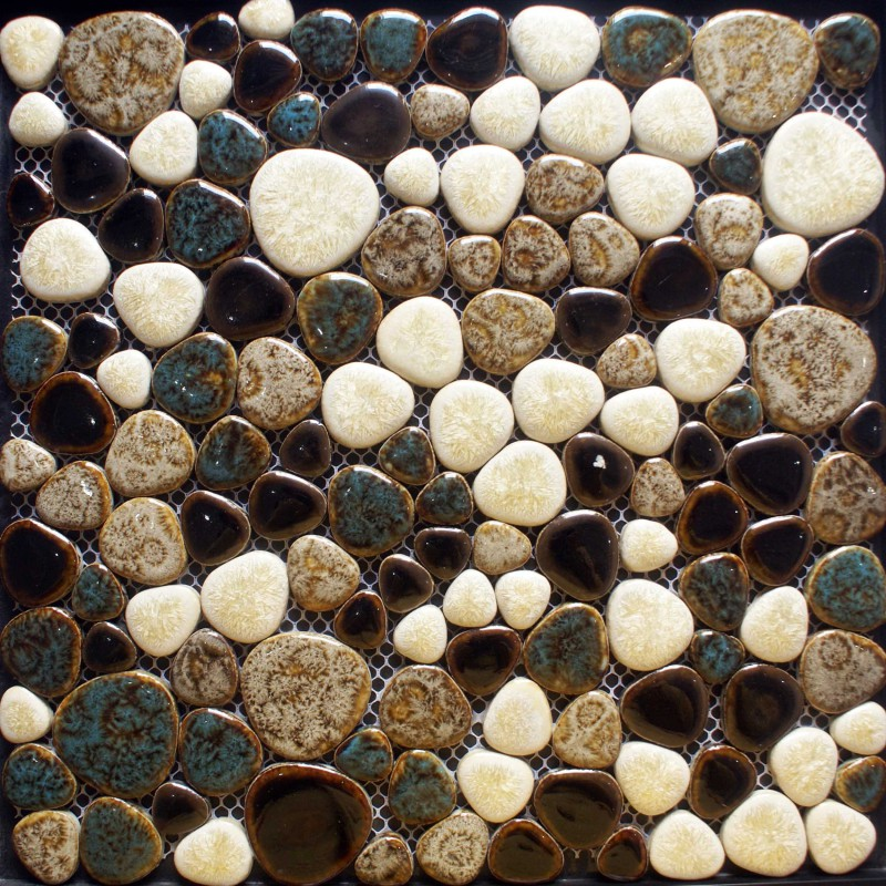 Porcelain tile sheets glazed ceramic mosaic cheap pebble tiles ...