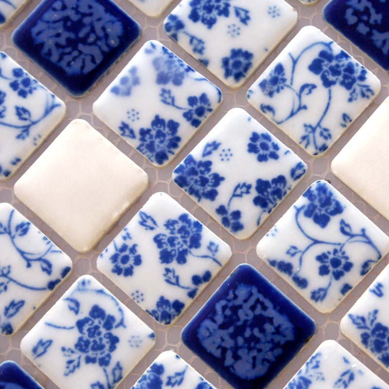 Blue And White Porcelain Tile Kitchen Backsplashes Glazed Ceramic Mosaic