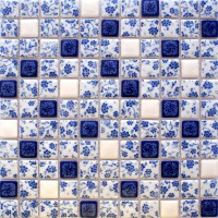 Blue and white porcelain tile kitchen backsplashes square glazed ceramic mosaic bathroom wall tiles BWT33