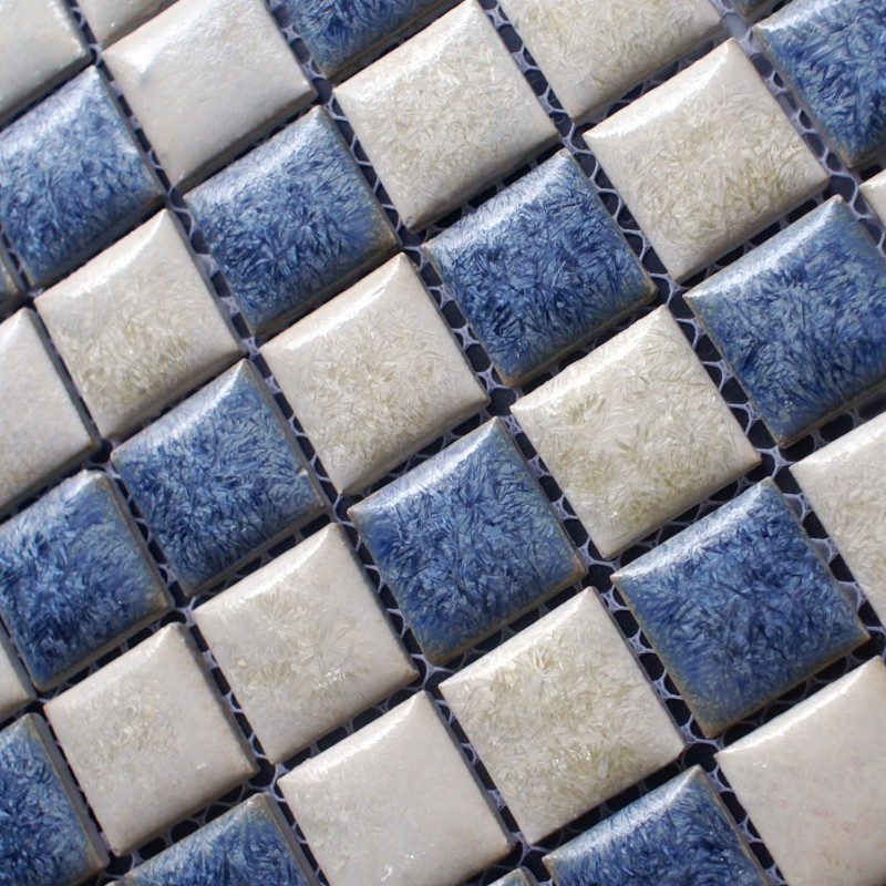 Blue And Beige Porcelain Tile Backsplash Kitchen Wall Art Bathroom Floor Mosaic