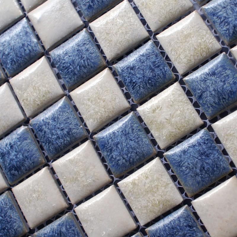 Blue and beige porcelain tile backsplash kitchen wall art bathroom