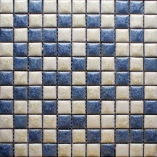 Blue and beige porcelain tile backsplash kitchen wall art bathroom floor mosaic tiles glazed ceramic pebble tiles sheets GPT52