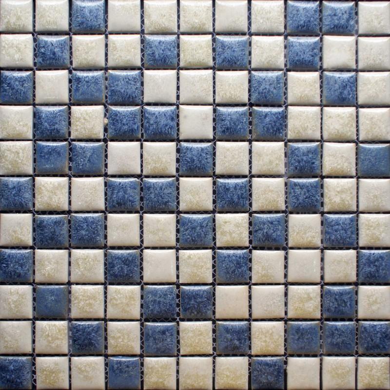 Blue And Beige Porcelain Tile Backsplash Kitchen Wall Art Bathroom Floor Mosaic Tiles Glazed Ceramic Pebble