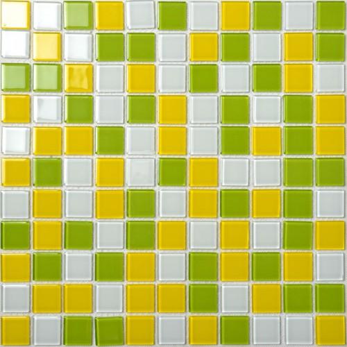 Crystal Glass Mosaic Tiles Wall Stickers Mixed Colors Kitchen Backsplash Tile Design Glossy Bathroom Floor Mirror Tiles AH257