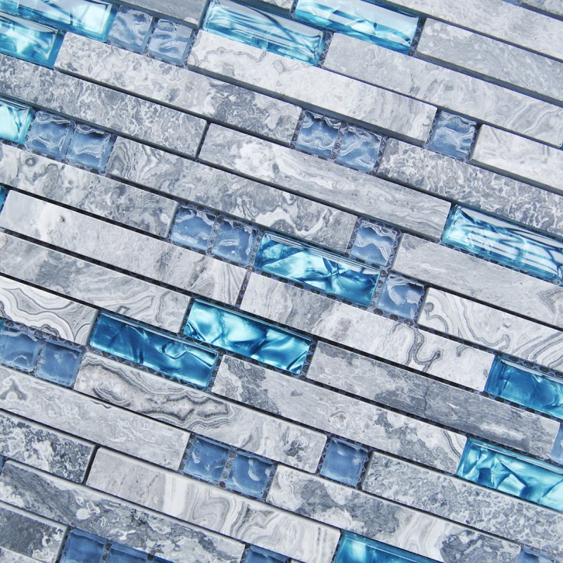 Sea blue glass tile kitchen backsplash marble bathroom ...