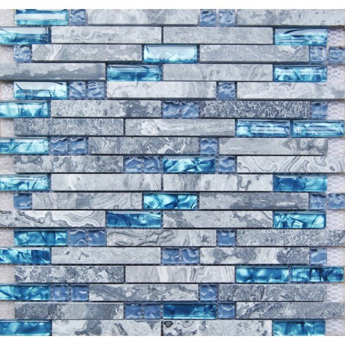 Sea blue glass tile kitchen backsplash marble bathroom interlocking wall linear shower bathtub fireplace mosaic tiles SGB008