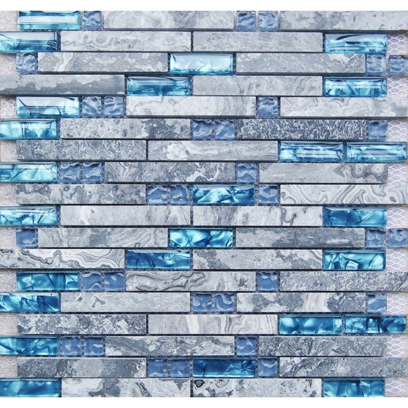 Kitchen Backsplash Blue blue glass stone mosaic wall tiles gray marble tile kitchen