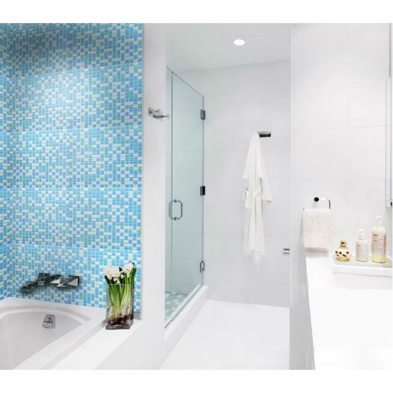 Crystal Glass Tile Sheets For Shower Wall Stickers Blue And White Blend  Mosaic Tiles B049 Bathroom Interior ...