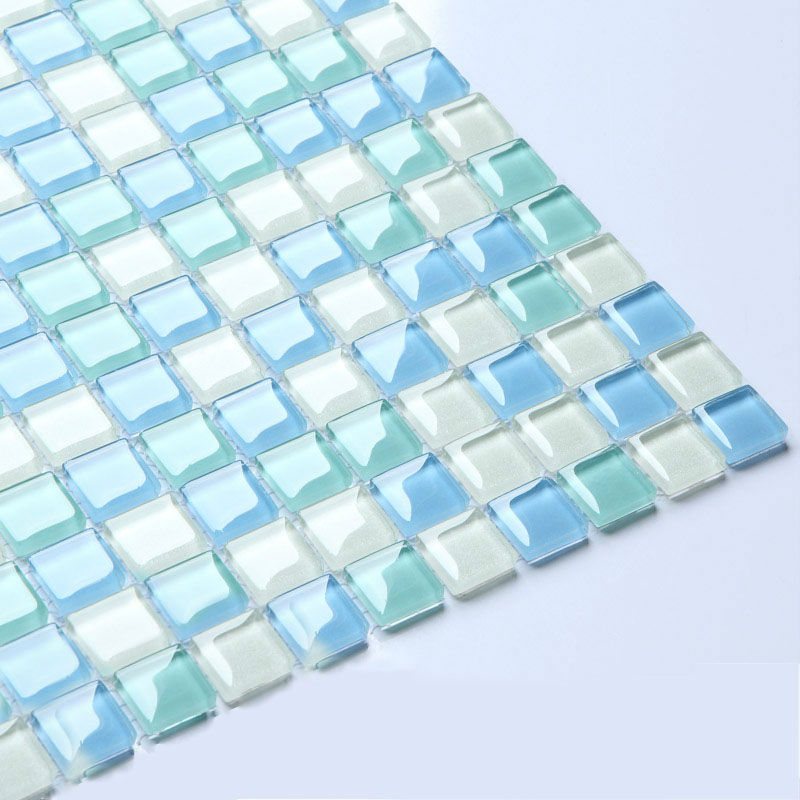 Crystal Gl Tile Sheets For Shower Wall Stickers Blue And White Blend Mosaic Tiles B049 Bathroom Interior