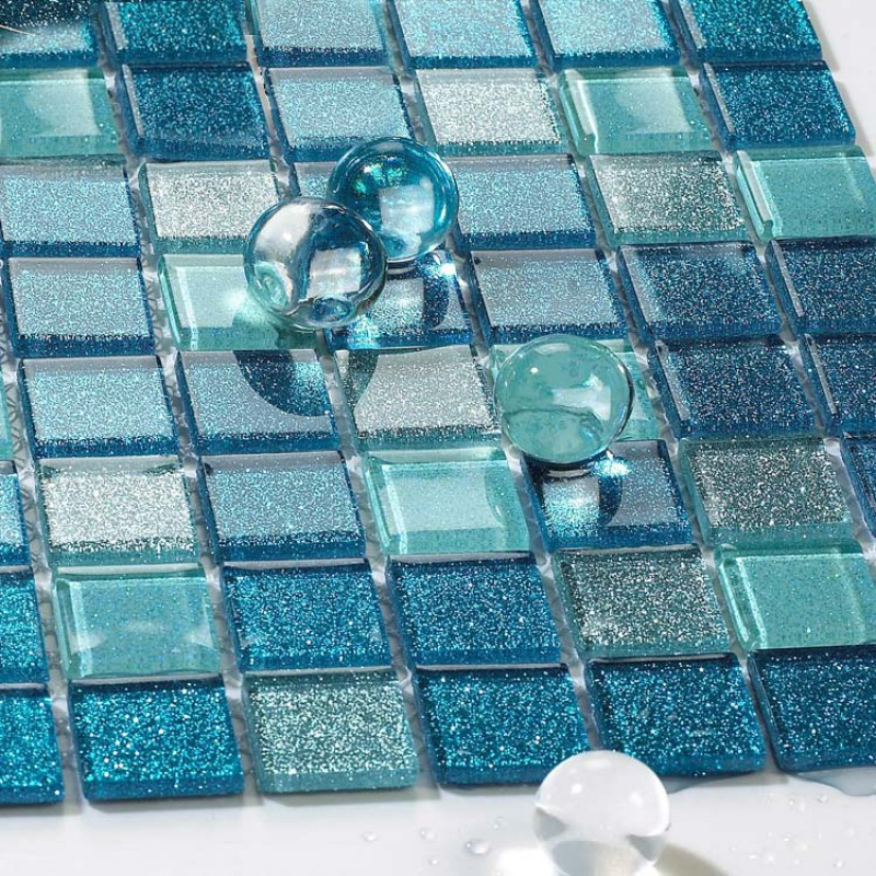 Sea glass tile backsplash ideas bathroom mosaic mirror for Large glass wall tiles