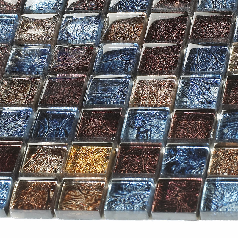 Glossy glass tile backsplash ideas bathroom mosaic sheets for Blue and brown kitchen