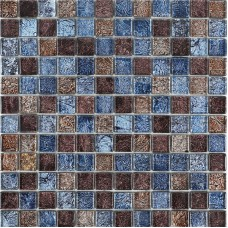 Glossy glass tile backsplash bathroom mosaic sheets brown and blue crystal glass wall tiles
