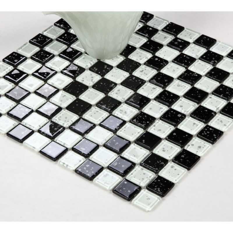 Crystal Glass Mosaic black and white Mosaic Glass Tile Backsplash Kitchen  glossy Bathroom Wall Tiles snowflake patterns B301