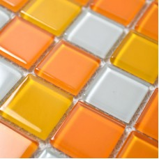 Glass Mosaic Tiles White and Orange Mixed Crystal Glass Tile Kitchen Backsplash Wall Tile Stickers Bathroom Flooring Mosaics B41