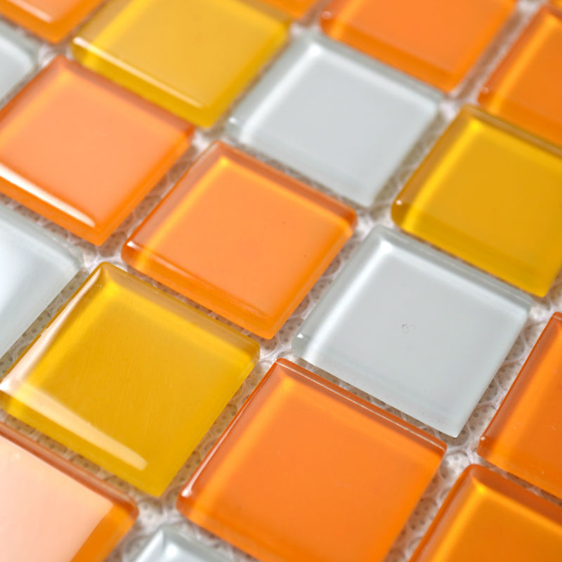 Glass Mosaic Tiles White And Orange Mixed Crystal Glass