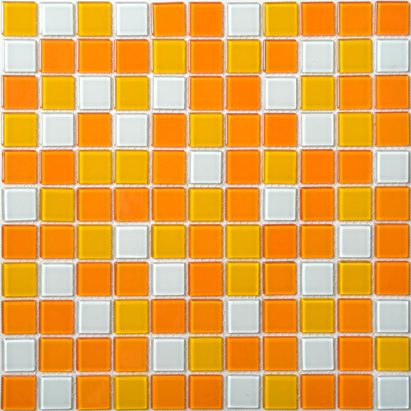 excellent orange bathroom floor | Glass Mosaic Tiles White and Orange Mixed Crystal Glass ...