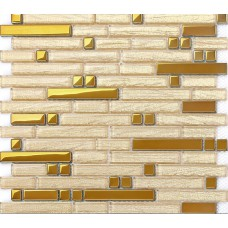 Metal glass tile backsplash interlocking diamond glass & stainless steel mosaic designs B902 metallic mosaic tiles sticker