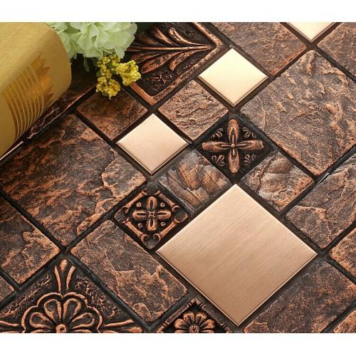 brushed stainless steel tile sheets kitchen backsplash brass glass mosaic resin patterns B963 bathroom shower designs metal mosaic tiles