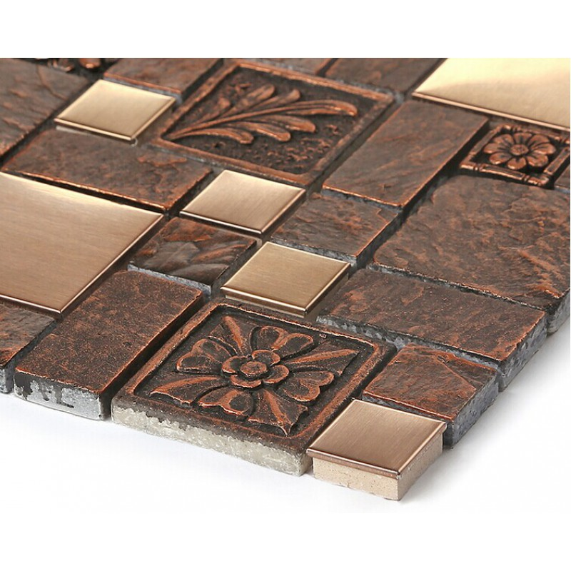 Brushed Stainless Steel Tile Sheets Kitchen Backsplash Brass Glass Mosaic Resin Patterns B963
