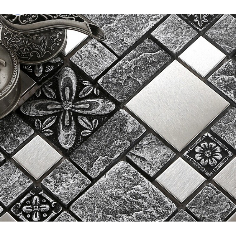 kitchen mosaic designs.  Brushed Stainless Steel Backsplash Mosaic Tile Designs Black Ceramic Wall Tiles Cheap Resin Kitchen
