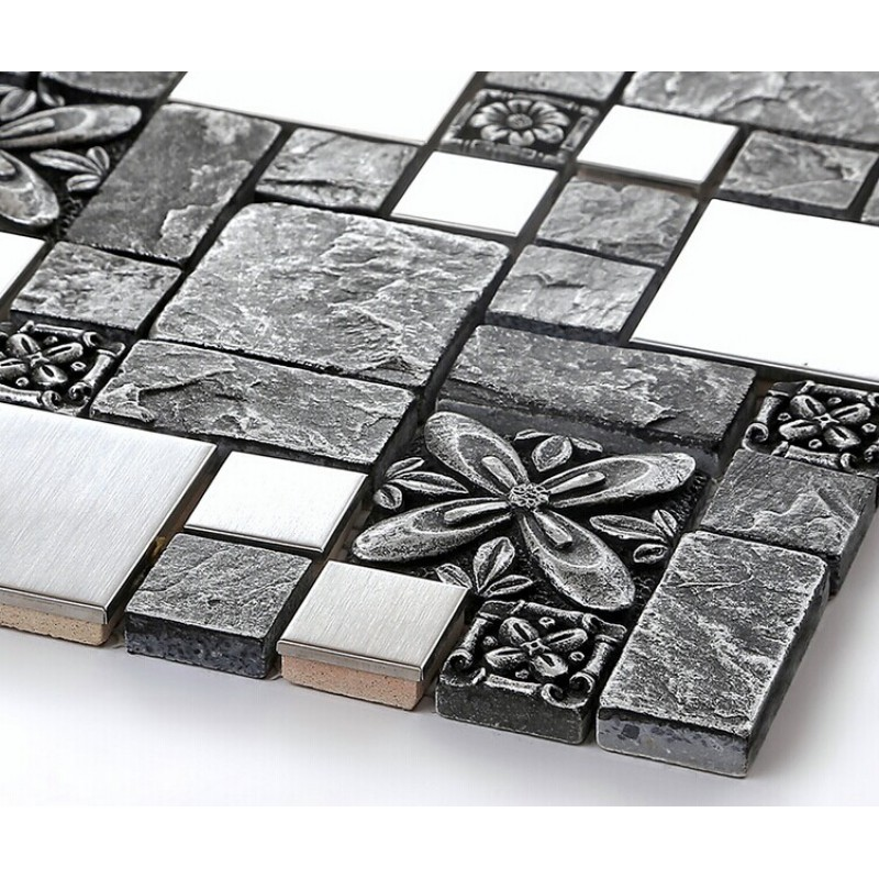 Brushed stainless steel backsplash mosaic tile designs black ...