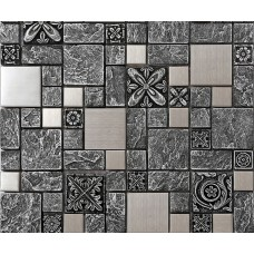 Brushed stainless steel backsplash mosaic tile designs black ceramic mosaic wall tiles cheap mosaic resin kitchen tile MCB965