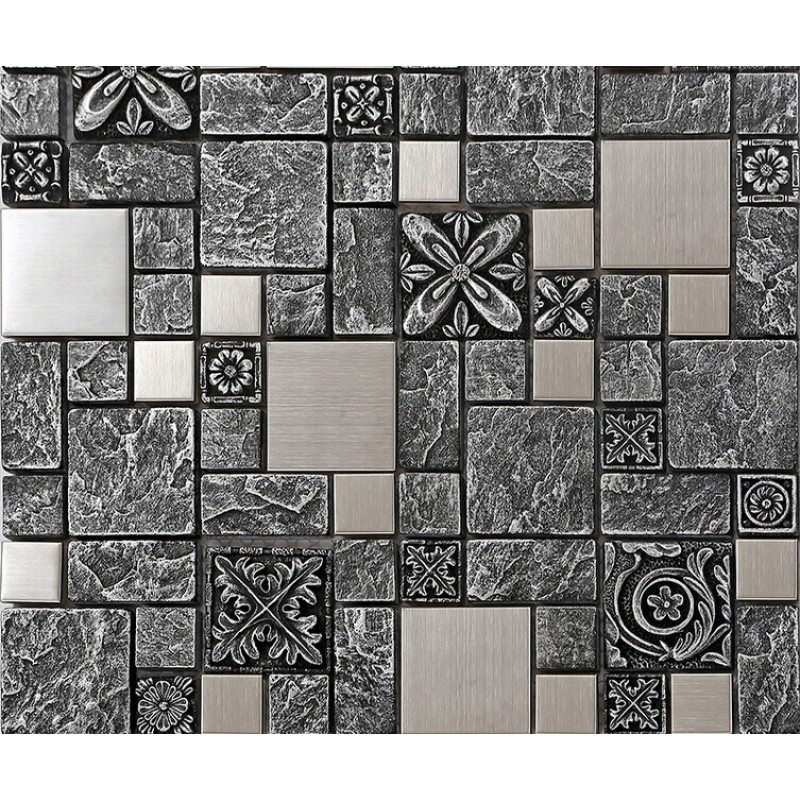 Brushed stainless steel backsplash mosaic tile designs black ...