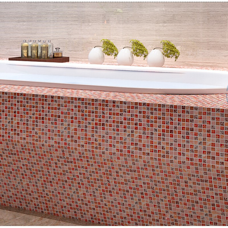 Crackle Glass Tile Backsplash Ideas Bathroom Decorative Wall Stone