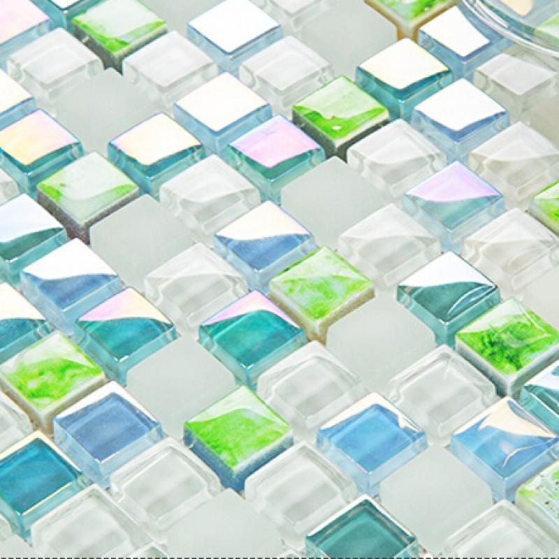 Blue Kitchen Wall Tile Ideas: Blue Crystal Glass Tile Backsplash Ideas Kitchen White