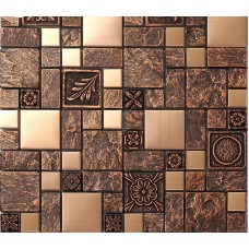 Brushed stainless steel tiles brass resin metal mosaic tile patterns kitchen backsplash ideas designs shower wall tiles sheets MGT08