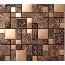 Brushed stainless steel tiles brass resin metal mosaic tile patterns kitchen backsplash ideas designs shower wall tiles sheets MGT08
