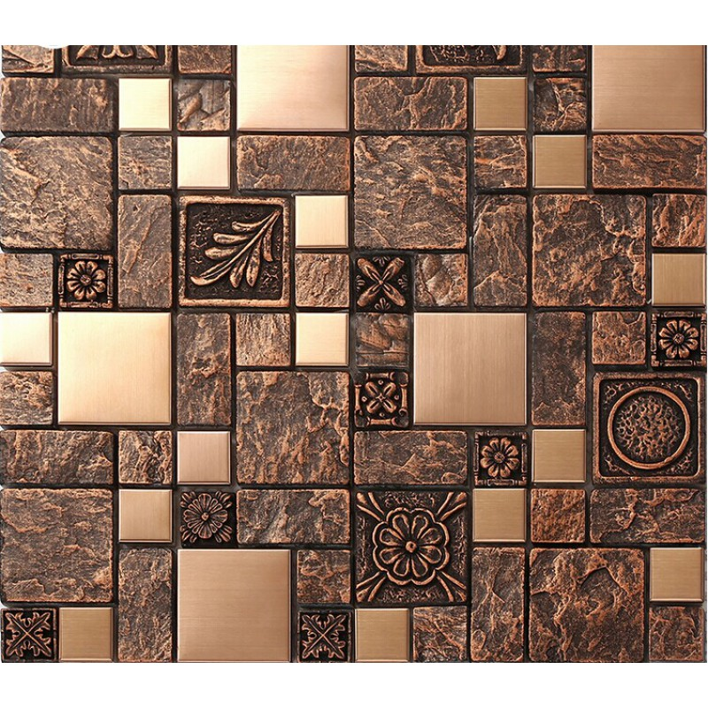 Brushed stainless steel tiles brass resin metal mosaic tile patterns kitchen backsplash Backsplash mosaic tile