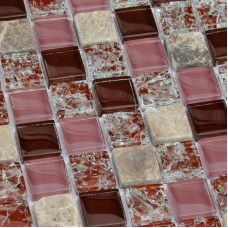 Kitchen Stone Tile Ice Crack Crystal Glass Backsplash Brown Bathroom Floor Tiles Wall Mosaic Art Swimming Pool Tile BL23012