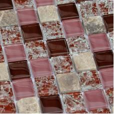 Kitchen Stone Tile Ice Crack Crystal Glass Backsplash Brown Bathroom Floor Tiles Wall Mosaic Art Swimming Pool Tile BL23012