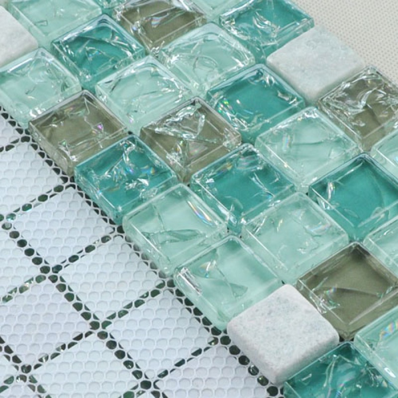 Crystal Glass Mosaic Tile Sheet Wall Stickers Kitchen Backsplash Tile Floor Stickers Design