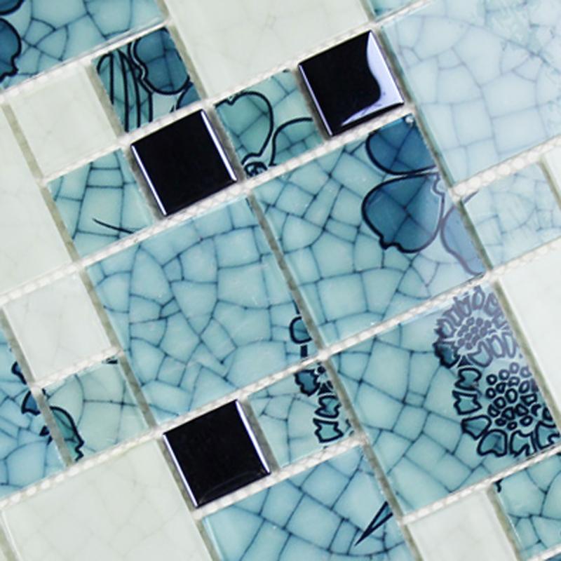 crystal glass tile backsplash pattern blue white blh016 mosaic tile brick kitchen design art wall tiles