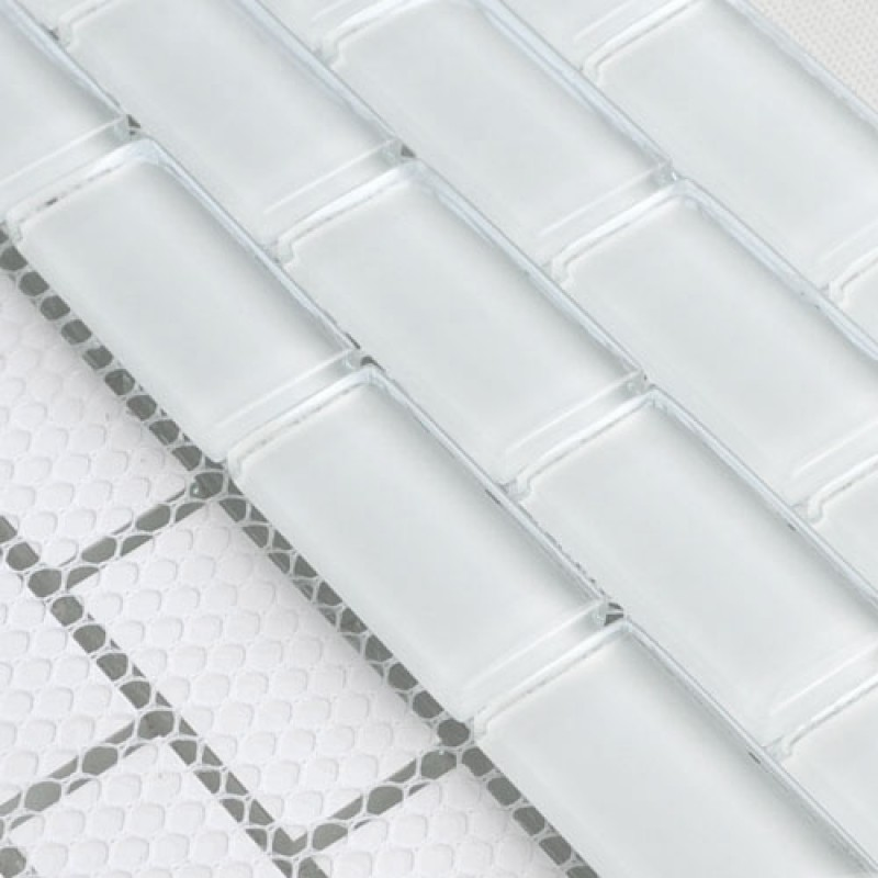 Glass Mosaic Tile Wall Tiles White stickers Kitchen Backsplash ...